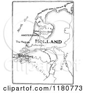Clipart Of A Retro Vintage Black And White Holland Map Royalty Free Vector Illustration