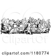 Clipart Of A Retro Vintage Black And White Crowd Of People Dining Royalty Free Vector Illustration