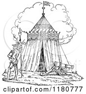 Clipart Of A Retro Vintage Black And White Knights Tent Royalty Free Vector Illustration
