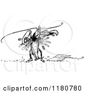 Clipart Of A Retro Vintage Black And White Lobster Musician Royalty Free Vector Illustration