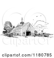Clipart Of A Retro Vintage Black And White Barn Royalty Free Vector Illustration by Prawny Vintage #COLLC1180785-0178