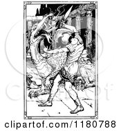 Clipart Of A Retro Vintage Black And White Knight Slaying A Dragon Royalty Free Vector Illustration