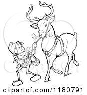 Retro Vintage Black And White Christmas Elf Leading A Reindeer