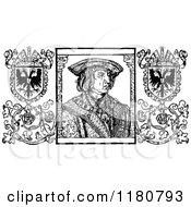 Clipart Of Retro Vintage Black And White Emperor Maximilian Royalty Free Vector Illustration