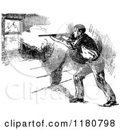 Clipart Of A Retro Vintage Black And White Cowboy Shooting Through A Window Royalty Free Vector Illustration by Prawny Vintage