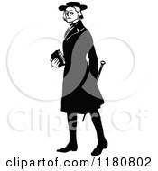 Clipart Of A Retro Vintage Black And White Clergyman Royalty Free Vector Illustration