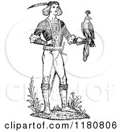 Clipart Of A Retro Vintage Black And White Man And Hawk Royalty Free Vector Illustration