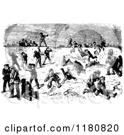 Clipart Of A Retro Vintage Black And White Snowball Fight Royalty Free Vector Illustration by Prawny Vintage