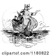 Clipart Of A Retro Vintage Black And White Ship Royalty Free Vector Illustration