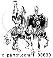 Clipart Of Retro Vintage Black And White Men On Horseback Royalty Free Vector Illustration