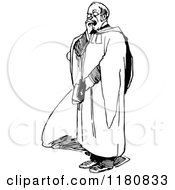 Clipart Of A Retro Vintage Black And White Yawning Vicar Royalty Free Vector Illustration