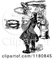 Retro Vintage Black And White Small Man And Food