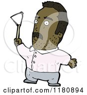 Cartoon Of An Black Man With A Flag Royalty Free Vector Illustration by lineartestpilot
