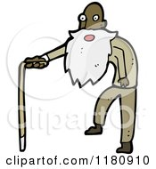 Cartoon Of An Elderly Black Man With A Cane Royalty Free Vector Illustration