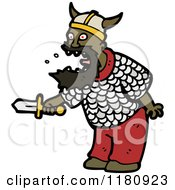 Cartoon Of An Black Man Wearing A Viking Costume Royalty Free Vector Illustration by lineartestpilot