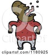 Cartoon Of An Black Man Gargling Royalty Free Vector Illustration by lineartestpilot