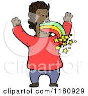 Cartoon Of An Black Man Vomiting A Rainbow Royalty Free Vector Illustration