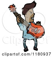 Cartoon Of An Black Man With A Guitar Royalty Free Vector Illustration by lineartestpilot
