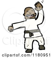 Cartoon Of An Black Man Doing Martial Arts Royalty Free Vector Illustration by lineartestpilot