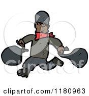 Cartoon Of An Black Male Burgler Royalty Free Vector Illustration