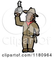 Cartoon Of An Black Cowboy With A Gun Royalty Free Vector Illustration