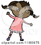 Cartoon Of A Black Girl In Pigtails Royalty Free Vector Illustration by lineartestpilot