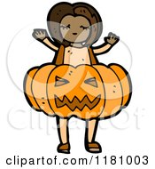Cartoon Of A Black Girl Wearing A Jack O Lantern Costume Royalty Free Vector Illustration by lineartestpilot