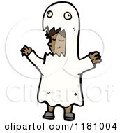 Cartoon Of A Black Girl Wearing A Ghost Costume Royalty Free Vector Illustration by lineartestpilot