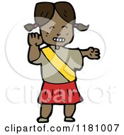 Cartoon Of A Black Girl Wearing A Gold Banner Royalty Free Vector Illustration by lineartestpilot