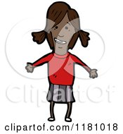Cartoon Of A Black Girl With Pigtails Royalty Free Vector Illustration by lineartestpilot