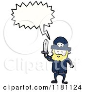 Cartoon Of A Man Dressed As A Pirate Speaking Royalty Free Vector Illustration