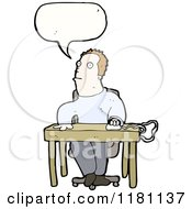 Cartoon Of A Man At A Computer Desk Speaking Royalty Free Vector Illustration