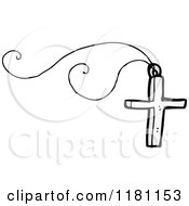 Cartoon Of A Silver Cross On A Chain Royalty Free Vector Illustration by lineartestpilot