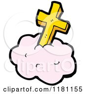 Cartoon Of A Golden Cross On A Cloud Royalty Free Vector Illustration by lineartestpilot
