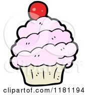 Cartoon Of A Cupcake Royalty Free Vector Illustration by lineartestpilot