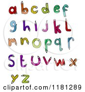 Cartoon Of The Alphabet Made From Pencils Royalty Free Vector Illustration by lineartestpilot