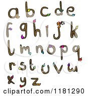 Cartoon Of The Alphabet Made From Paintbrushes Royalty Free Vector Illustration