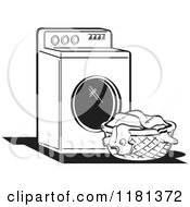 Black And White Retro Washing Machine And Laundry