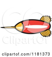 Cartoon Of A Red And Gold Dart Royalty Free Vector Clipart