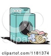 Cartoon Of A Retro Turquoise Washing Machine And Laundry Royalty Free Vector Clipart