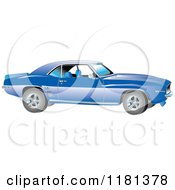Clipart Of A Blue 1969 Camaro Muscle Car Royalty Free Vector Illustration