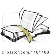 Cartoon Of A Ribbon Resting On An Open Bible Book Royalty Free Vector Clipart by Johnny Sajem