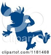 Clipart Of A Silhouetted Blue Swimmer Girl Plugging Her Nose And Jumping Royalty Free Vector Illustration