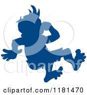 Clipart Of A Silhouetted Blue Swimmer Boy Plugging His Nose And Jumping Royalty Free Vector Illustration
