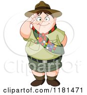 Cartoon Of A Chubby Saluting Scout Boy Royalty Free Vector Clipart
