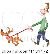 Cartoon Of A Happy Dog Leading A Man On A Walk Royalty Free Vector Clipart by yayayoyo