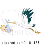 Cartoon Of A Baby Boy Sucking His Thumb In A Stork Bundle Royalty Free Vector Clipart