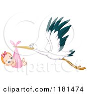 Cartoon Of A Baby Girl Sucking Her Thumb In A Stork Bundle Royalty Free Vector Clipart