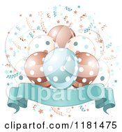 Banner Under Blue Brown And White Party Balloons And Confetti