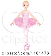 Cartoon Of A Blond Ballerina In A Pink Tutu Royalty Free Vector Clipart